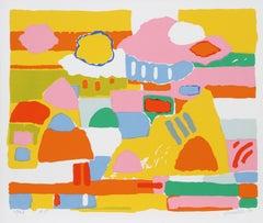 Landscape II, Colorful Landscape Serigraph by John Grillo