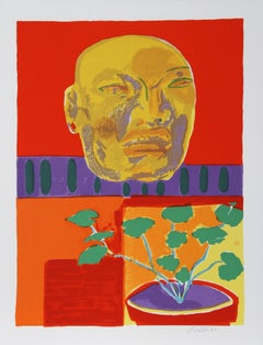 Olmec Mask, Serigraph by John Grillo