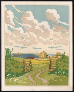 The Open Gate, colour woodcut by John Hall Thorpe, circa 1920