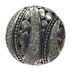 John Hardy 18 Karat and Sterling Silver Ring Set with White Sapphires