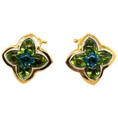 John Hardy 18 Karat Cabochon Peridot and Blue Topaz Clip Earrings