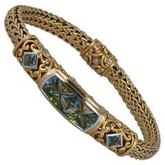 John Hardy 18 Karat Classic Chain Bracelet with Blue Topaz and Peridot