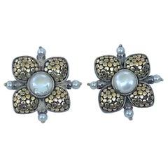 John Hardy 18 Karat SS Pearl Earrings