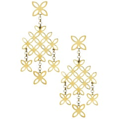 John Hardy 18 Karat Yellow Gold Kawung Chandelier Earrings