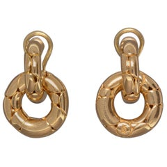 John Hardy 18 Karat Yellow Gold Lever-Back Hoops with Removable Dangle Hoop