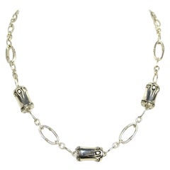 "John Hardy 18"" Sterling Silver Three Station Bamboo Chain Necklace rt. $695"