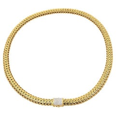 John Hardy 18k Yellow Gold Woven Necklace with Pave Diamond Clasp