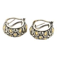 John Hardy 18K YG & 925 Sterling silver Semi-Hoop Curved Earrings