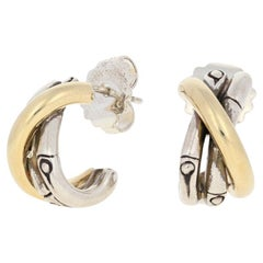 John Hardy Bamboo Earrings, Sterling and 1/3 18 Karat Gold Pierced Small J-Hoops