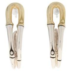 John Hardy Bamboo Hoop Earrings Sterling Silver and 18 Karat Yellow Gold Pierced