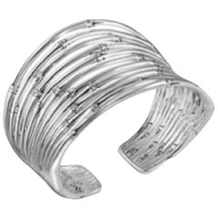 John Hardy Bamboo Silver 12-Row Flex Cuff Bracelet, CB5769XM