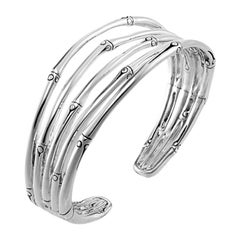 John Hardy Bamboo Silver Five-Row Narrow Flex Cuff Bracelet, CB5756XM