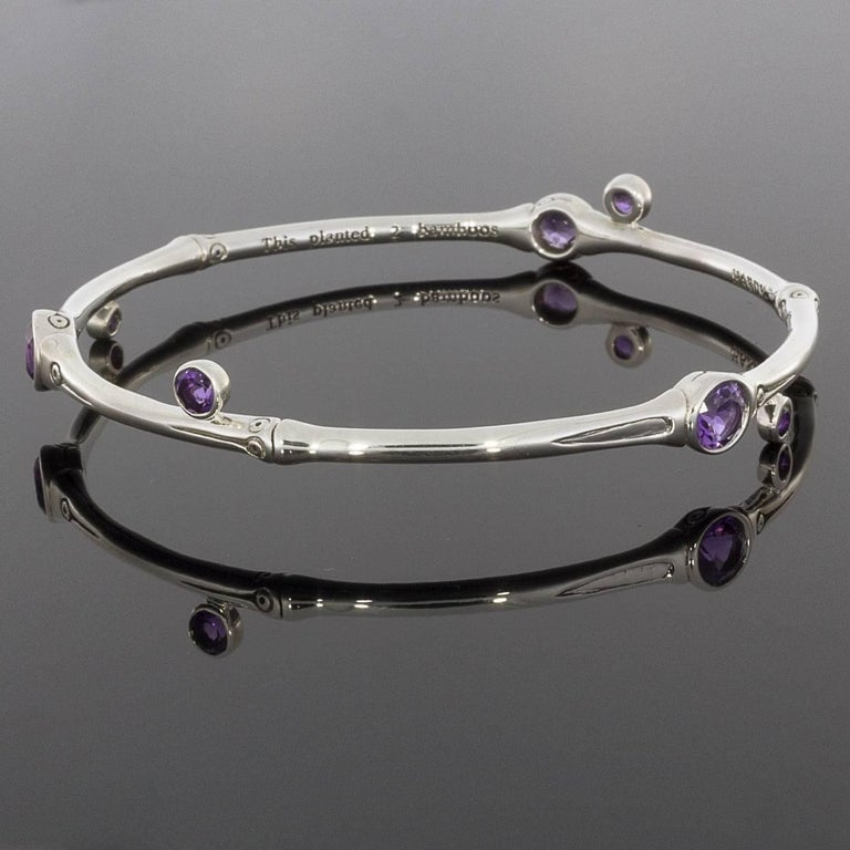 John Hardy Bamboo Slim Amethyst Bangle Bracelet At 1stdibs