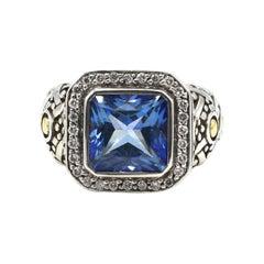 John Hardy Batu Sari Blue Topaz & Diamond Sterling Silver 18k Gold Cocktail Ring
