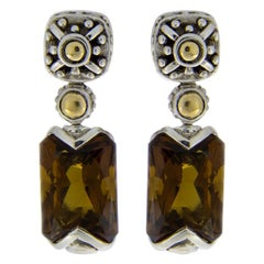 John Hardy Batu Sari Sterling Silver Emerald Smoky Quartz Drop/Dangle Earrings