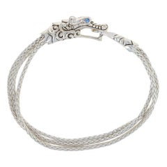 John Hardy Blue Sapphire Legends Naga Multi-Row Bracelet Sterling Chain