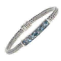 John Hardy Blue Topaz Pave Station Classic Chain Bracelet Sterling