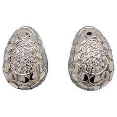 John Hardy Buddha Belly Dot Sterling Silver 0.44 Round Diamond Huggie Earrings