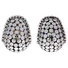 John Hardy Buddha Belly Sterling Silver Huggie Hoop Earrings