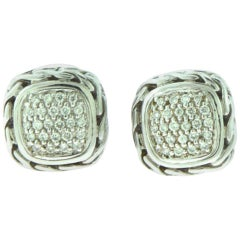 John Hardy Chain Silver and Gold Diamond Square Earrings
