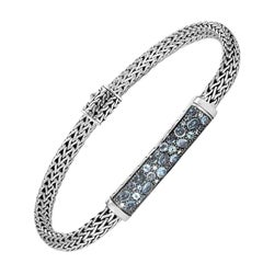John Hardy Chain Station with Mixed Blue Bracelet BBS902364MBTBZXM