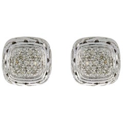 John Hardy Chain Sterling Silver 0.28 Carat Round Diamond Studded Earrings