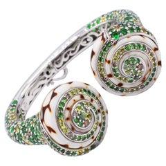 John Hardy Cinta Collection Colored Sapphire, Diamond and Shell Bangle Bracelet