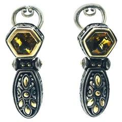John Hardy Citrine Earrings 18 Karat Yellow Gold Dangle Sterling Silver