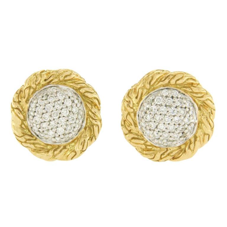 361e67200 John Hardy Classic Chain 18 Karat Yellow Gold Diamond Stud Earrings For Sale