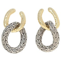 John Hardy Classic Chain Earrings Sterling and 18k Gold Hammered Double Circle
