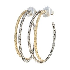 John Hardy Classic Chain Earrings Sterling Silver and 18 Karat Gold Medium Hoops
