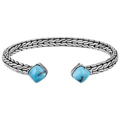 John Hardy Classic Chain Flex Cuff in Silver with Turquoise CBS906421TQXS-M