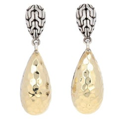John Hardy Classic Chain Hammered Drop Earrings, Sterling Silver and 18k Gold