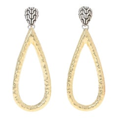John Hardy Classic Chain Hammered Teardrop Earrings Sterling & 1/3 18 Karat Gold