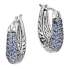 John Hardy Classic Chain Hoop Earring with Blue Sapphire EBS900434BSP