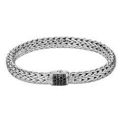 John Hardy Classic Chain Silver Lava Bracelet with Black Sapphire BBS90409BLSXM