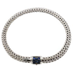 John Hardy Classic Chain Sterling Silver Lava Bracelet with Blue Sapphire