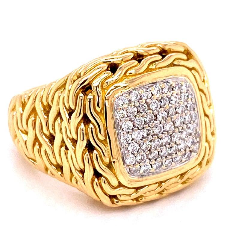 Modern John Hardy Diamond Signet 18 Karat Yellow Gold Ring For Sale