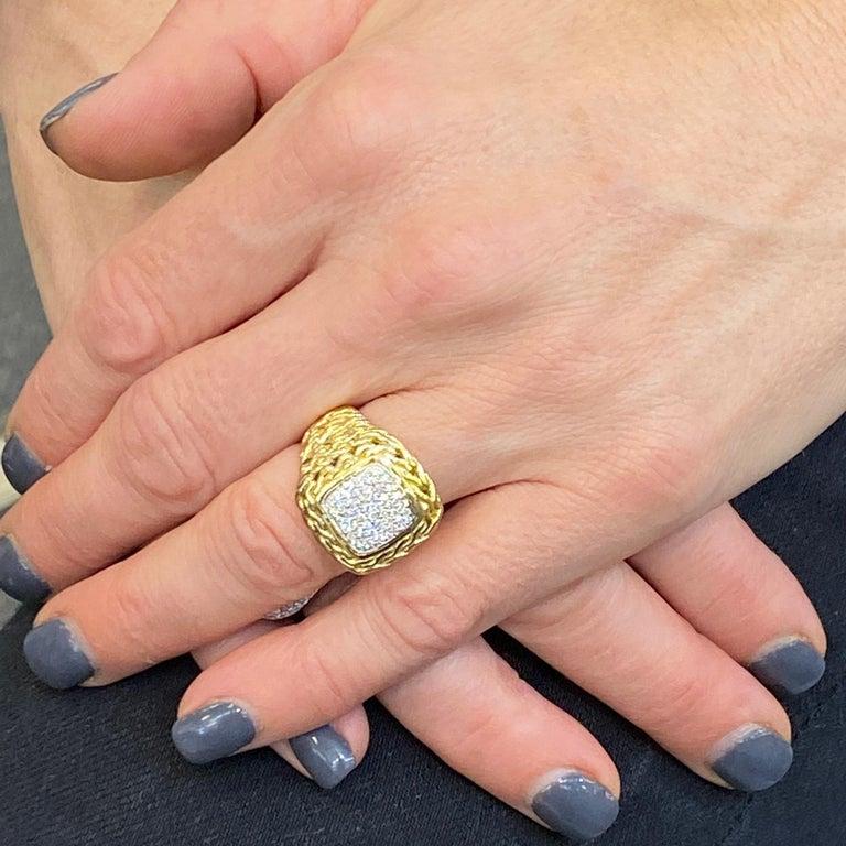Women's John Hardy Diamond Signet 18 Karat Yellow Gold Ring For Sale