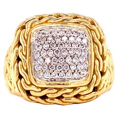 John Hardy Diamond Signet 18 Karat Yellow Gold Ring