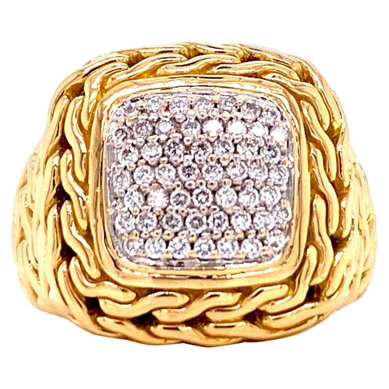 John Hardy Diamond Signet 18 Karat Yellow Gold Ring For Sale