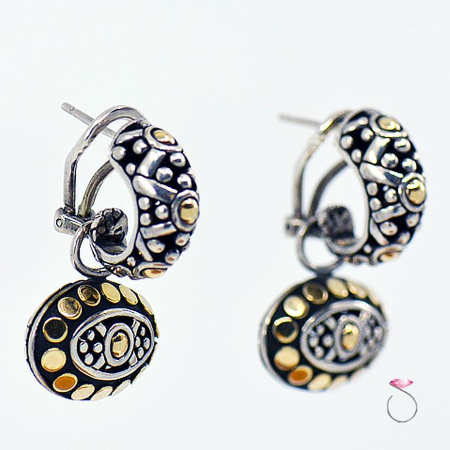 0076fbe18 John Hardy Dot Collection Earrings, Sterling Silver and 18 Karat Yellow  Gold For Sale at 1stdibs