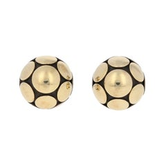 John Hardy Dot Earrings, Sterling and 1/3 18 Karat Gold Small Pierced Ball Studs