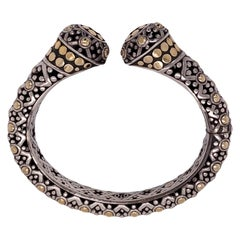 John Hardy Dot Hinged CUff Bracelet Sterling Silver 18 Karat Yellow Gold