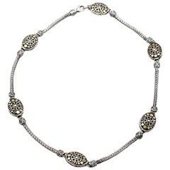 John Hardy Dot Jaisalmer Gold and Sterling Silver Oval Station Sautoir Necklace