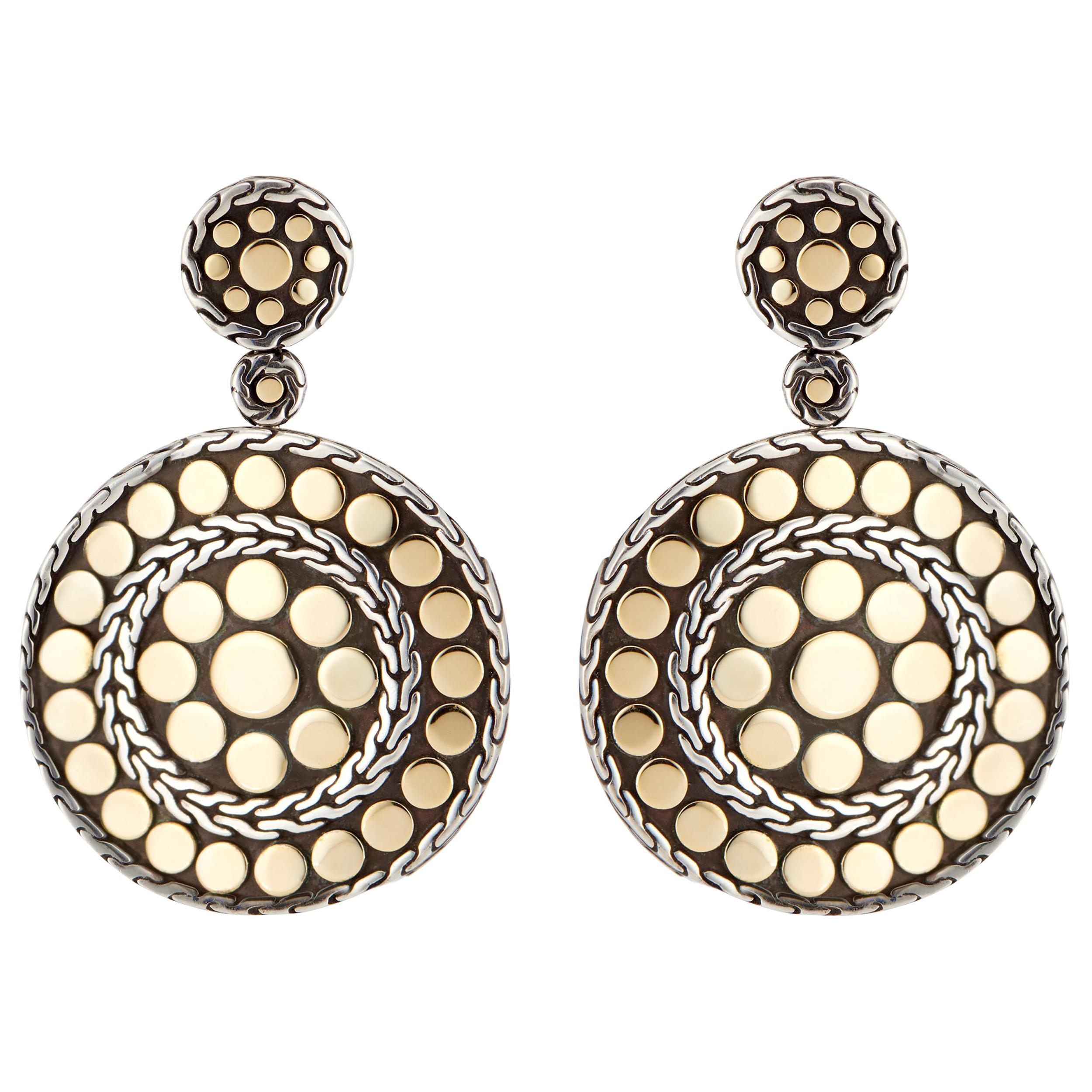John Hardy Dot Nuansa Yellow Gold Sterling Silver Dangle Earrings