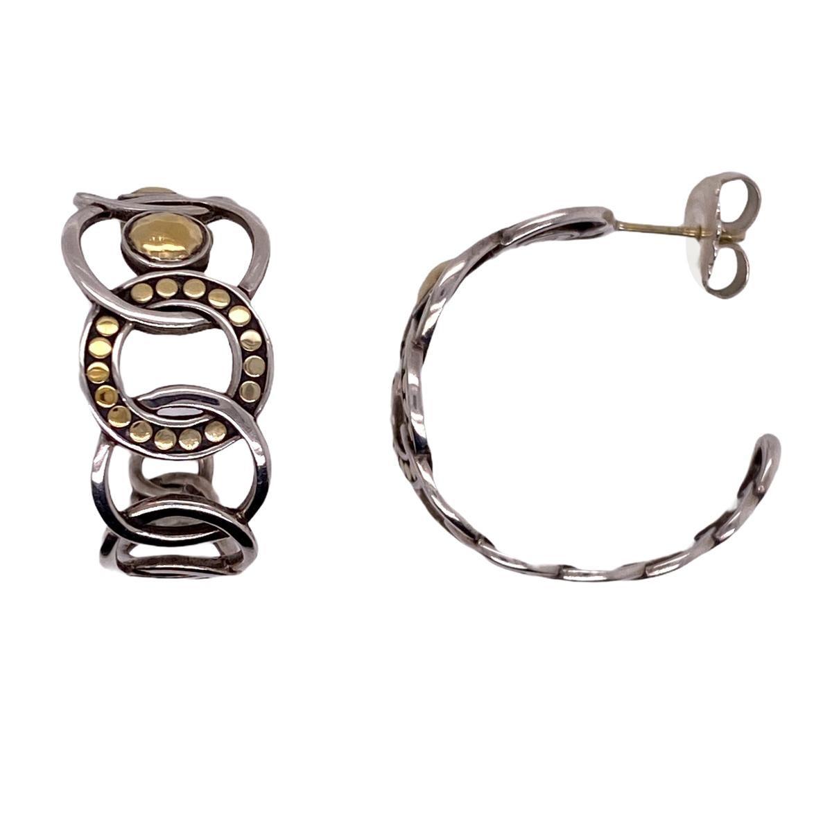 John Hardy Dot Sterling Silver 22 Karat Yellow Gold Hoop Earrings