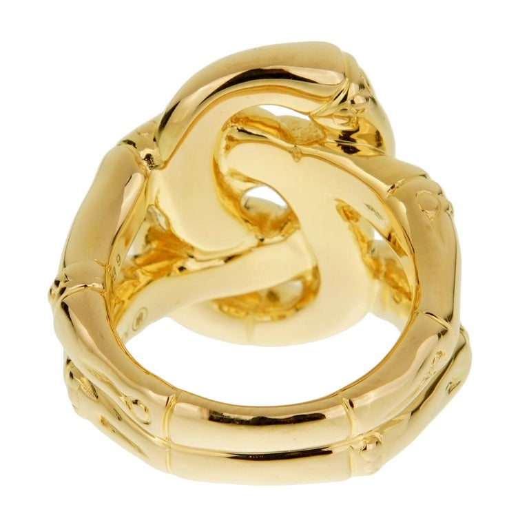 Women's or Men's John Hardy Double Bamboo Yellow Gold Ring For Sale