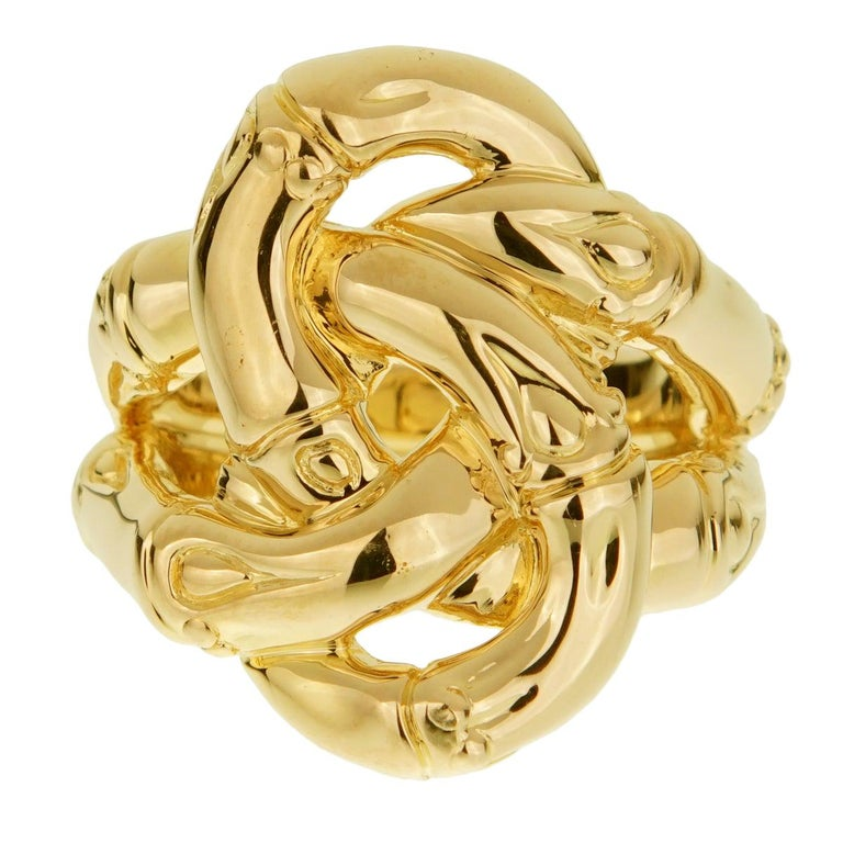 John Hardy Double Bamboo Yellow Gold Ring For Sale