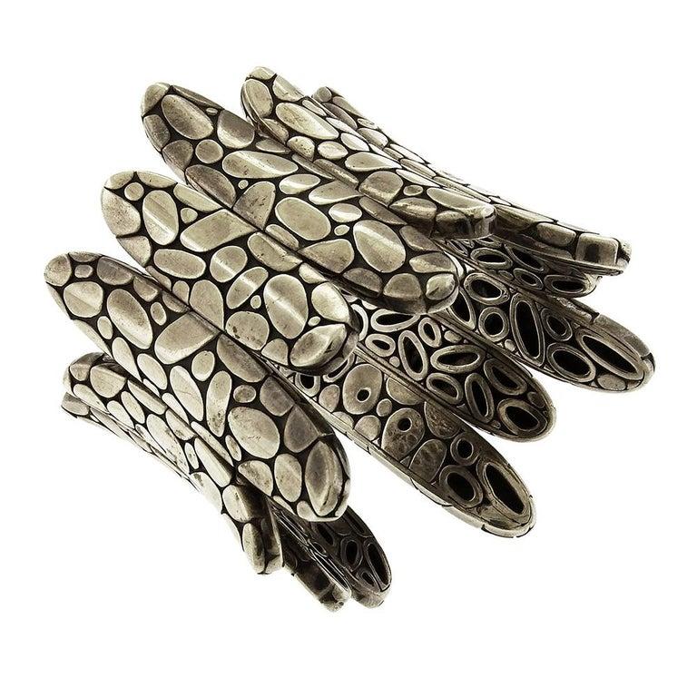 Sterling silver statement John Hardy flex Kali Spike cuff bracelet measures 2-1/2